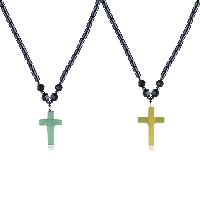 comeon® Jewelry Necklace, Non Magnetic Hematite, with Cats Eye & Black Agate & Zinc Alloy, Cross, platinum color plated, natural & for woman, more colors for choice, 22x37mm, Length:Approx 17.7 Inch, Sold By Strand