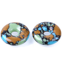 Mosaic Turquoise Beads, Donut, natural, 30x8mm, Hole:Approx 2-3mm, Sold By PC