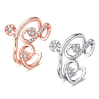 comeon® Finger Ring, Brass, plated, open & for woman & with cubic zirconia, more colors for choice, 16mm, US Ring Size:8, Sold By PC