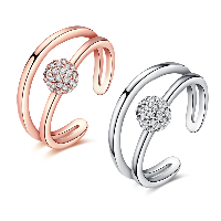comeon® Finger Ring, Brass, plated, open & for woman & with cubic zirconia, more colors for choice, 10mm, US Ring Size:8, Sold By PC