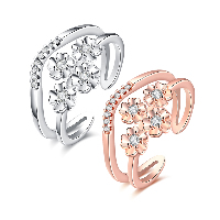 comeon® Finger Ring, Brass, Flower, plated, open & for woman & with cubic zirconia, more colors for choice, 13mm, US Ring Size:8, Sold By PC
