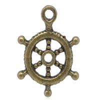 Coconut Pendants, Zinc Alloy, Ship Wheel, antique bronze color plated, lead & cadmium free, 20x15mm, Hole:Approx 1.6mm, Sold By PC
