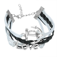 Zinc Alloy Combined Bracelet, anchor & love, with Waxed Linen Cord & PU, with 5cm extender chain, antique silver color plated, Unisex & 5-strand, lead & cadmium free, 19cm, Length:Approx 7 Inch, Sold By Strand