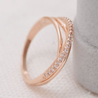 Cubic Zirconia Micro Pave Brass Finger Ring, Donut, rose gold color plated, micro pave cubic zirconia, nickel, lead & cadmium free, 20x22mm, US Ring Size:5.5, Sold By PC