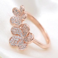 Cubic Zirconia Micro Pave Brass Finger Ring, Flower, plated, micro pave cubic zirconia, more colors for choice, nickel, lead & cadmium free, 21x25mm, US Ring Size:7, Sold By PC