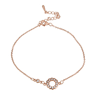 Cubic Zirconia Micro Pave Sterling Silver Bracelet, 925 Sterling Silver, with 2.5lnch extender chain, Flower, real rose gold plated, oval chain & micro pave cubic zirconia & for woman, 14x10x2mm, 7x3x2.5mm, 2x1.5x0.2mm, Length:Approx 7 Inch, Sold By Strand