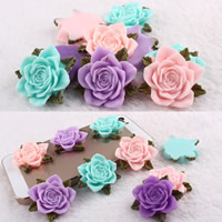 Mobile Phone DIY Decoration, Resin, Rose, flat back, mixed colors, 35mm, 100PCs/Bag, Sold By Bag
