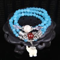 Cats Eye Bracelets, with Synthetic Turquoise & Red Agate & Crystal & Resin & Zinc Alloy, Elephant, synthetic, for woman & 3-strand, 6mm, Length:Approx 27 Inch, Sold By Strand