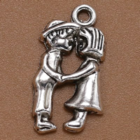 Zinc Alloy Couple Pendant, antique silver color plated, lead & cadmium free, 22x12mm, Hole:Approx 1.5mm, 100PCs/Bag, Sold By Bag