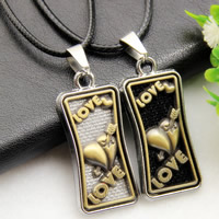 Couple Zinc Alloy Necklace, with PU, Rectangle, word love, plated, 17x38mm, Length:Approx 16.9 Inch, 2Strands/Set, Sold By Set