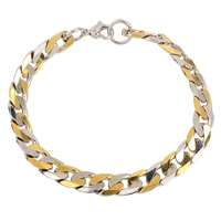 Unisex Bracelet, Stainless Steel, plated, curb chain & two tone, 8.5x12x2mm, Length:Approx 8 Inch, Sold By Strand