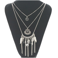 Fashion Fringe Necklace, Zinc Alloy, with Crystal, antique silver color plated, twist oval chain & for woman & 3-strand & faceted & with rhinestone, Length:Approx 17.7 Inch, Sold By Strand
