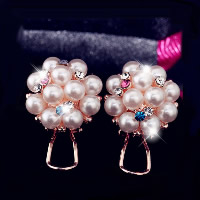 Resin Zinc Alloy Earring, with Resin Pearl, brass earring post and Omega clip, Flower, plated, for woman & with rhinestone, more colors for choice, 20x20mm, Sold By Pair