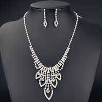 Wedding Jewelry Set, Brass, earring & necklace, with 5cm extender chain, Leaf, platinum color plated, for bridal & with Austria rhinestone, nickel, lead & cadmium free, 400mm, Length:Approx 15.5 Inch, Sold By Set