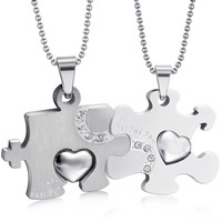 Stainless Steel Puzzle Couple Necklace, ball chain & with letter pattern & with rhinestone, original color, 45x25mm, Length:Approx 23.6 Inch, 2Strands/Set, Sold By Set