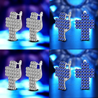 Cubic Zirconia Micro Pave Brass Earring, Cross, real silver plated, with 925 logo & micro pave cubic zirconia, more colors for choice, lead & cadmium free, 15x20mm, Sold By Pair