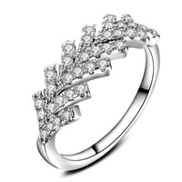 Cubic Zirconia Micro Pave Brass Finger Ring, Leaf, real silver plated, with 925 logo & different size for choice & micro pave cubic zirconia & for woman, lead & cadmium free, 22x21mm, Sold By PC