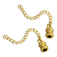 Stainless Steel Tips, gold color plated, with extender chain, 6x12x6mm, 4x3x0.5mm, 65mm, Hole:Approx 3mm, Length:Approx 2.5 Inch, Sold By PC
