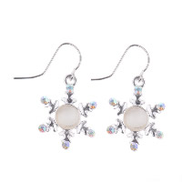 Cats Eye Earring, Zinc Alloy, with Cats Eye, Flower, silver color plated, for woman & with rhinestone, 30mm, Sold By Pair