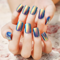 Nail Decal, Plastic, with Nail Glue, colorful plated, more colors for choice, 10-15mm, 24PCs/Bag, Sold By Bag
