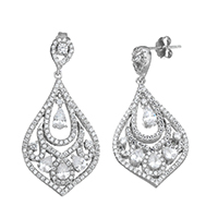 Cubic Zirconia Micro Pave Sterling Silver Earring, 925 Sterling Silver, Teardrop, micro pave cubic zirconia & hollow, 37mm, 18x29x4mm, Sold By Pair