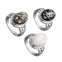Shell Finger Ring, Brass, with Shell, platinum color plated, natural & for woman & mixed, 17mm, US Ring Size:8-9, Sold By PC