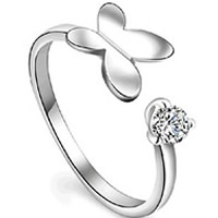 Cubic Zirconia Micro Pave Brass Finger Ring, Butterfly, real silver plated, with 925 logo & for woman & with cubic zirconia, lead & cadmium free, 17mm, US Ring Size:6.5, Sold By PC