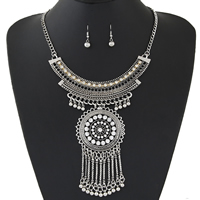 Fashion Zinc Alloy Jewelry Sets, earring & necklace, with 1.9lnch extender chain, plated, twist oval chain & for woman & with rhinestone, more colors for choice, 8x30mm,100mm,60x130mm, Length:Approx 16.5 Inch, Sold By Set