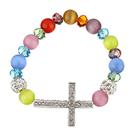 Cats Eye Bracelets, with Rhinestone Clay Pave Bead & Crystal & Brass, Cross, platinum color plated, for woman, 34.5x25x4.5mm, 9x9.5x9.5mm, Length:Approx 8 Inch, Sold By Strand
