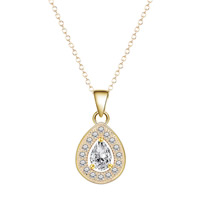 Cubic Zircon Micro Pave Brass Necklace, Teardrop, real gold plated, oval chain & micro pave cubic zirconia & for woman, lead & cadmium free, 40cm, Length:Approx 15.5 Inch, Sold By Strand