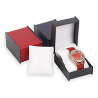 Plastic Watch Box, with PU, Rectangle, more colors for choice, 73x97x55mm, Sold By PC