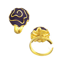 Stainless Steel Finger Ring, with Clay Pave, Flower, gold color plated, 18x8mm, US Ring Size:8, Sold By PC