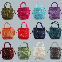 Satin Jewelry Pouches, embroidered, more colors for choice, 60x200x210mm, Sold By PC