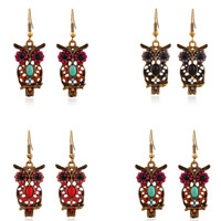 Resin Zinc Alloy Earring, with Resin, iron earring hook, Owl, antique gold color plated, faceted, more colors for choice, lead & cadmium free, 45x10mm, Sold By Pair