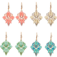 Resin Zinc Alloy Earring, with Resin, iron earring hook, gold color plated, faceted, more colors for choice, lead & cadmium free, 58x31mm, Sold By Pair
