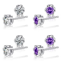 Cubic Zircon Brass Earring, platinum color plated, with cubic zirconia, more colors for choice, nickel, lead & cadmium free, 7.5x7.5mm, Sold By Pair