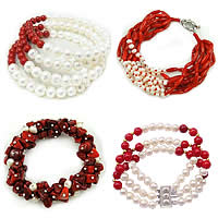 Freshwater Pearl Coral Bracelets