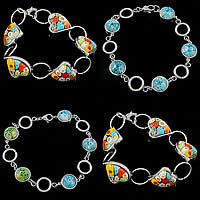 Italy Millefiori Glass Stainless Steel Bracelets