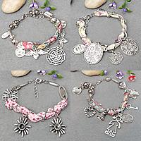 Zinc Alloy Fabric Cord Bracelets