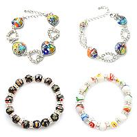 Rhinestone Millefiori Glass Bracelets