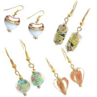 Gold Foil Lampwork Earring