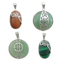 Gemstone Brass Pendants