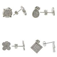 Rhinestone Brass Stud Earring