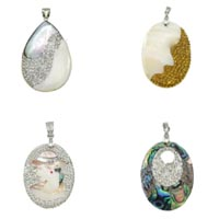 Rhinestone Shell Pendants