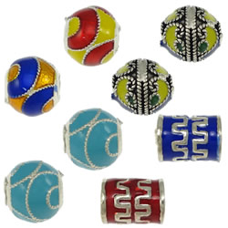 Imitation Cloisonne Sterling Silver Beads