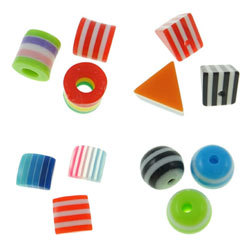 Striped Resin Beads
