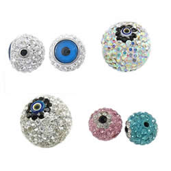 Rhinestone Evil Eye Beads