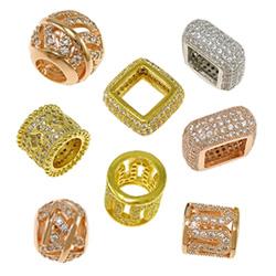 Cubic Zirconia Micro Pave Brass Beads