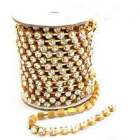 Brass Rhinestone Cup Chain