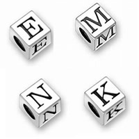 Sterling Silver European Alphabet Beads